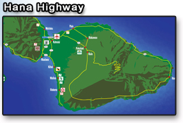 Map outline of Hana highway on Maui